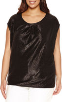 Liz Claiborne Sleeveless Crew Neck Knit Blouse-Plus
