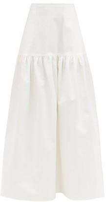 Adriana Degreas Gathered Cotton-blend Maxi Skirt - White