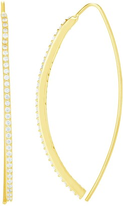Sphera Milano 14K Yellow Gold Plated Sterling Silver Pave CZ Crescent Hoop Earrings