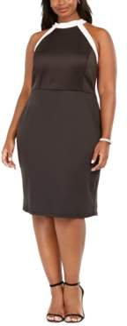 Love Squared Plus Size High-Neck Colorblocked Dress