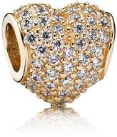 Pandora Heart pave cubic zirconia gold charm