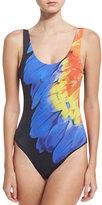 Onia Kelly One-Piece Swimsuit, Blue/Orange