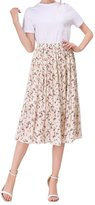 CoutureBridal Floral Chiffon Skirt Summer Pleated Print Tea Length Midi Skirts