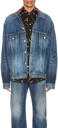 Balenciaga Logo Collar Jacket in Authentic Dark Blue | FWRD