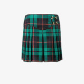 Esteban Cortazar pleated tartan denim mini-skirt