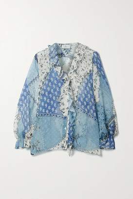 Etro Ruffled Patchwork Printed Silk-crepon Blouse - Light blue