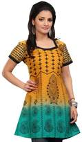 Maple Clothing Long Indian Tunic Top Printed Womens Blouse Cotton India Clothes (, L)