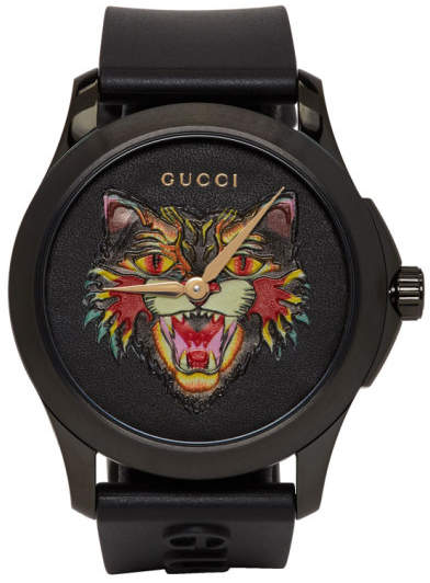 Gucci Black G-Timeless Angry Cat Watch