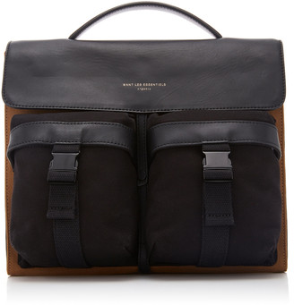WANT Les Essentiels Durham Leather-Trimmed Canvas Shoulder Bag
