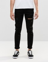 Dr. Denim Clark Slim Jeans Black Ripped Knee and Thigh