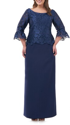 JS Collections Embroidered Peplum Column Gown