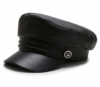 Chennuo Mariner Style Flat Cap Women PU Leather Beret Newsboy Cap Barge Fiddler Cap (Black)