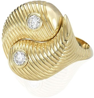 Retrouvaí 14K yellow gold Yin Yang diamond ring