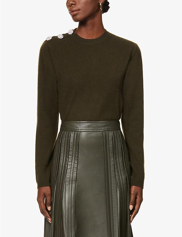 Ganni Crystal-embellished cashmere jumper