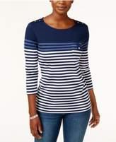 Karen Scott Petite Striped Top, Only at Macy's