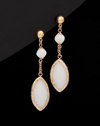 14K Italian Rose Gold 20.00 Ct. Tw. White Agate Drop Earrings