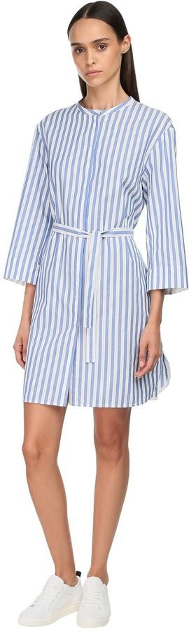 S Max Mara Striped Cotton Canvas Shirt Dress