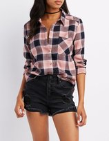 Charlotte Russe Plaid Collard Pocket Button-Up Shirt
