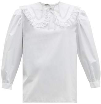 Miu Miu Lace-trimmed Collar Cotton Blouse - Womens - White