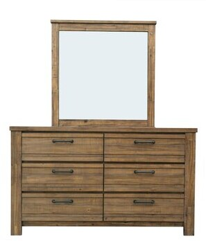 Gracie Oaks Hassler 6 Drawer Double Dresser with Mirror