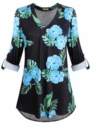 Moyabo Women's Tunic Blouse to Wear with Leggings Ladies Long Sleeve Printed Shirt Tops Black Blue X-Large