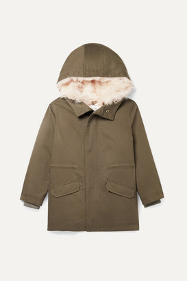 Yves Salomon Kids - Age 8 - 12 Hooded Metallic Shell And Faux Shearling-lined Cotton-twill Parka