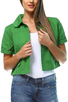 Green Tie-Sleeve Button-Up Jacket