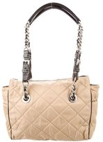 Prada Leather Trimmed Quilted Tessuto Shoulder Bag