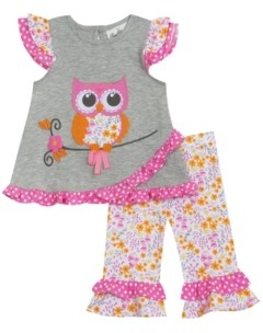 Rare Editions Toddler Girls 2 Piece Owl Applique Legging Set
