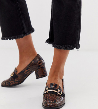 Asos Design DESIGN Wide Fit Stirrup mid-heeled loafers in conker snake