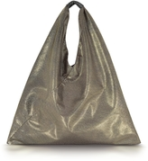 MM6 Maison Martin Margiela Light Gold Glitter Foil and Black Eco Leather Japanese Tote