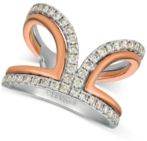 LeVian Le Vian Nude Diamonds Two-Tone Statement Ring (3/4 ct. t.w.) in 14k White & Rose Gold