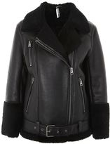 Topshop Black Shearling Biker Jacket