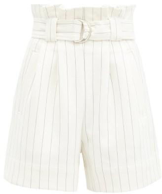 Ganni Paperbag-waist Striped Crepe Shorts - White