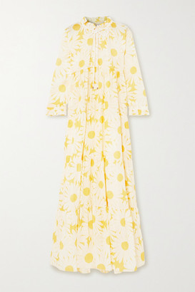 Eywasouls Malibu Cora Tiered Floral-print Cotton-voile Maxi Dress - Yellow