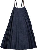 Brunello Cucinelli Girl's Denim Plisse Dress with Monili Straps, Size 4-6