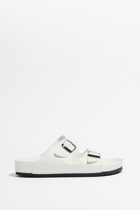 Nasty Gal Womens Mines a Double Buckle Faux Leather Sandals - White - 5, White