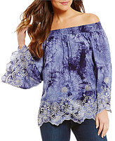 Bobeau Smocked Off-The-Shoulder Embroidered Tie Dye Print Woven Top