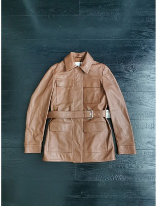 Reiss Brown Leather Leather Jacket for Women