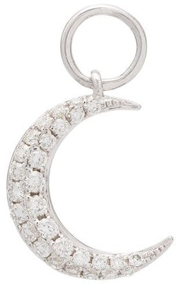 Roxanne First 14kt White Gold Diamond-Embellished Moon Charm