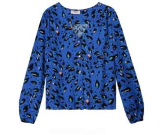 Pyrus - Blue Animal Print Viscose Edith Blouse - large | viscose | blue - Blue/Blue