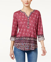 Style&Co. Style & Co Petite Mixed-Print Peasant Top, Only at Macy's