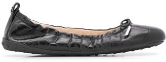 Tod's Crocodile Effect Leather Ballerina Shoes