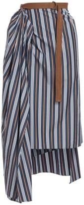 Brunello Cucinelli Striped Midi Wrap Step Hem Skirt
