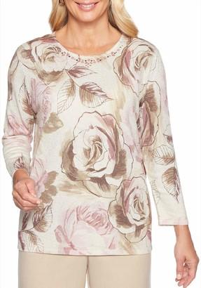 Alfred Dunner Women's Petite Rose Shimmer Print Sweater