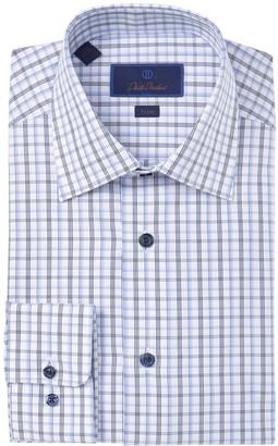 David Donahue Check Trim Fit Dress Shirt