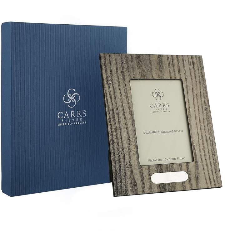 """Carrs of Sheffield Silver Zebra Wood Boardered Photo Frame (6""""x4"""")"""