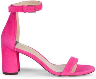 Stuart Weitzman Block Heel Suede Ankle-Strap Sandals