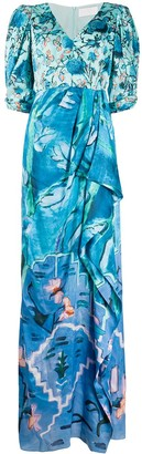 Peter Pilotto printed satin V-neck gown
