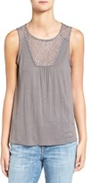 Hinge Women's Embroidered Mesh Yoke Tank